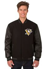 Pittsburgh Penguins NHL Jacket Wool Leather Sleeves Reversible Embroidered Logos