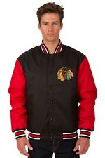 Chicago Blackhawks NHL Jacket Poly Twill Black Red Embroidered Logos Licensed