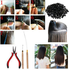 200 Silicone Micro Rings Beads Feather Hair Extension Tools Kit Pliers Loop Hook