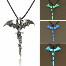 Vintage Silver Glow In The Dark Cross Dragon Pendant Necklace Luminous Jewellery