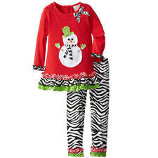 2PCS Toddler Baby Girls Christmas snowman Outfits tops+pants Kids Clothes set
