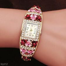 Fashion Girls Women Watch Crystal Rhinestone Flower Bracelet Quartz Wrist Watch