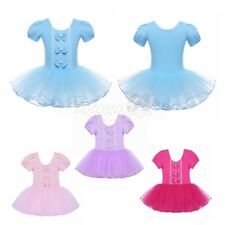 Girls Gymnastics Ballet Dress Kids Leotard Tutu Party Dance Wear Costume Sz 3-12