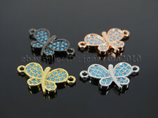 Zircon Gemstones Pave Turquoise Butterfly Bracelet Connector Charm Beads Silver