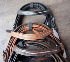 Bling Crystal FANCY Brow Band English Bridle Reins PONY Black Tan or Brown SALE