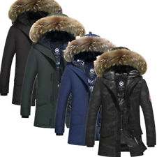 Korean Furry Hooded Slim Fit Ducks Down Coats Parkas Mens Winter Warm  Jackets