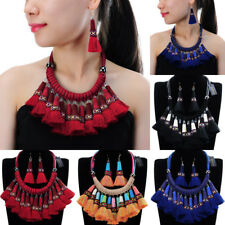 Fashion Bohemian Chain Rope Tassel Fringe Choker Statement Pendant Bib Necklace