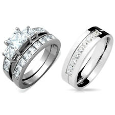 LOVERS Stainless WOMENS Princess Cut CZ Wedding Ring/MENS 9 Round CZs Band