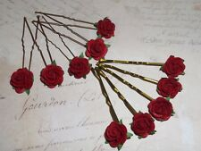 Red Rose Hair Pins / Kirby Grips, Flower Accessories,Wedding,Festival,Boho,Prom