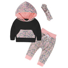 Toddler Baby Girls Hoodie Tops +Pants +Headwear Outfits Set Clothes 3Pcs Set