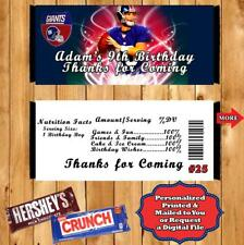 Football NFL Birthday Candy Bar Wrappers 10 ea Personalized Any Team Any Player
