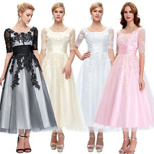 Tea-Length Appliques Evening Ball Gown Prom Dress Cocktail Mother of Bride