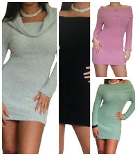 Ladies Jumper Womens Long Sleeve Sweater Top Plain Knitted Tops Size 8 10 12 14