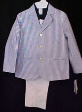 Lito  3777.5  Four- Piece  Blue and white striped Seersucker suit, Boys  5 - 7 _