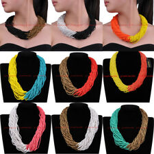 Fashion Jewelry Resin Turquoise Seed Beads Collar Choker Pendant Bib Necklace