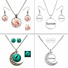 Charm Personalized Custom Earrings Necklace Set Jewelry Picture Photo Logo Gift