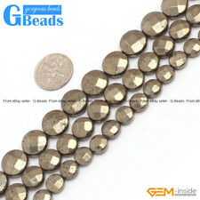 """Coin Gemstone Silver Gray Pyrite Beads Jewelry Making Beads 15"""" Free Shipping"""