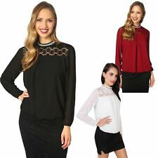 Womens Ladies Lace Neck Chiffon Office Work Wear Business Blouse Shirt Top Party