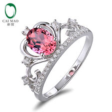 Caimao 14k White Gold 1.58ct Tourmaline Natural Diamonds Engagement Crown Ring