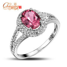 Oval Pink Tourmaline 14k Gold Natural Diamond Engagement Charming Ring Stunning