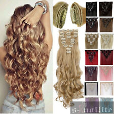 Long Clip in human made Hair Extensions Black Brown Blonde Hair Extension XY82