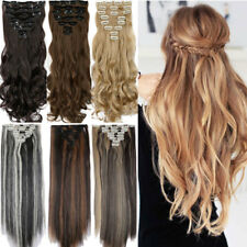 Long Clip in human made Hair Extensions Curly Wavy Straight Hair Extension XY82