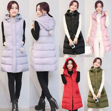NEW Women Padded Jacket Quilted Down Sleeveless Coat Hooded Long Vest Waistcoat
