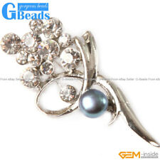 Beautiful 7-8mm Freshwater Pearl With Gold Plated Flower Shape Brooch 25x52mm