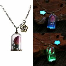 Charm Glow In The Dark Dried Flower Glass Bottle Pendant Necklace Chain Jewelry