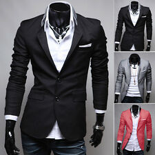 Stylish Men's Casual Slim Fit Two Button Suit Blazer Party Ball Coat Jacket Tops