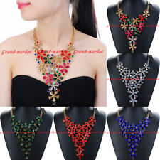 Fashion Gold Chain Acrylic Rhinestone Crystal Charm Collar Pendant Bib Necklace