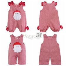 Baby Boys Girls Christmas Santa Claus Plaid Romper  One Piece Costume New Outfit