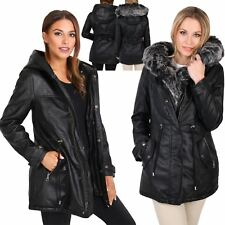 Womens Ladies Warm Faux Fur Lined Leather Hooded Long Winter Parka Jacket Coat