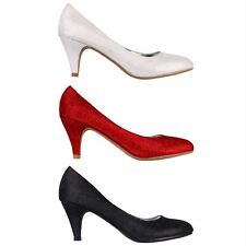 Womens Ladies Comfy Low Mid Kitten Heel Glitter Courts Pumps Party Shoes UK 3-8