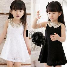 Baby Kids Children's Girls Lovely Sequins Collar Sleeveless Lace Casual Dress