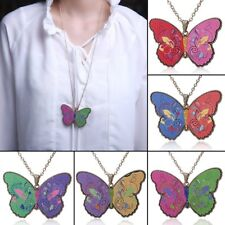 Charm Printing Flower Butterfly Charm Sweater Chain Pendant Necklace Jewelry