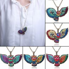 Hot Colored Print Flower Owl Sweater Chain Pendant Necklace Jewelry Women Gift