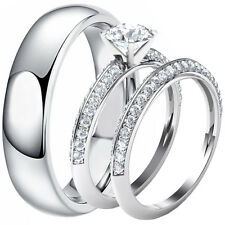 Genuine Solid 925 Sterling Silver Round Cut CZ Engagement Ring Wedding Band Set