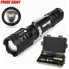 Zoomable CREE XM-L T6 LED Torch Tactical Flashlight + 18650 Battery Charger Case