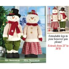 Mr and Mrs Snowman Couple Standing Extendable Legs Christmas Home Porch Greeter