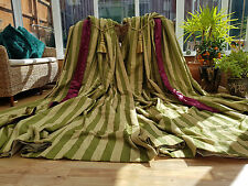 "HUGE  MOIRE SILK GREEN  INTERLINED CURTAINS  106"" DROP BY 72"" WIDTH & TIEBACKS *"