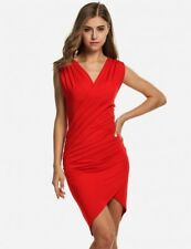 Gorgeous Women's Size 10,12,14 Deep Red Ruched Crossover Mock Wrap Stretch Dress