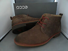 NEW MENS ECCO BIARRITZ MID CUT LACE NUBUCK LEATHER BOOTS COCOA BROWN $200+ SALE!