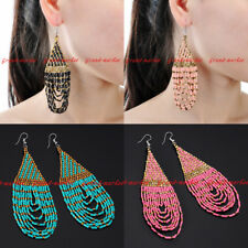 Fashion Jewelry Elegant Resin Seed Beads Chandelier Dangle Hook Long Earrings