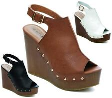 Womens Ladies High Chunky Wedge Buckle Strap Gladiator Open Toe Sandals Shoes Si