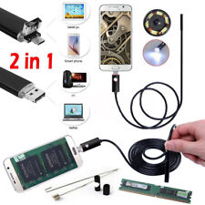 2 IN 1 6LED Endoscope HD Camera Borescope Waterproof USB Inspection Android PC