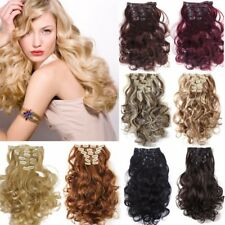 Heat Resistant full head 7piece hair clip in hair extensions curly straight L85