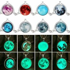 Fashion Glow In The Dark Time Gem Moon Pendant Necklace Luminous Jewellery Gift