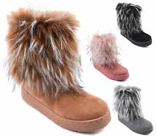 NEW LADIES FAUX FUR WOMENS FLAT WINTER ANKLE BOOTS ANKLE SNOW SHOES SIZE 3-8 UK