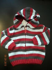 NWT Gymboree Holiday Pictures Boys Striped Hooded Sweater 3-6 6-12 12-18 18-24